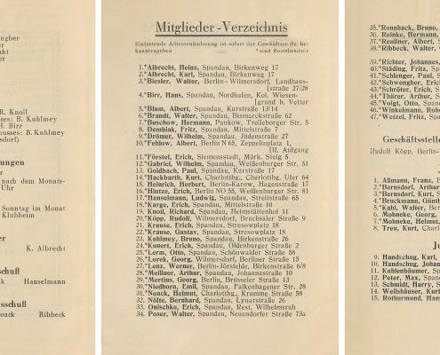 Die Mitglieder des Vereins mit Wohnanschrift, unterteilt nach ausgeübten Funktionen. Noch heute führen Mitglieder des SCN die Tradition fort, die ihre Altvorderen schon damals begannen (z. B. Familien Winkelmann, Rothermund, Richter und Dembiak/Quellhorst).