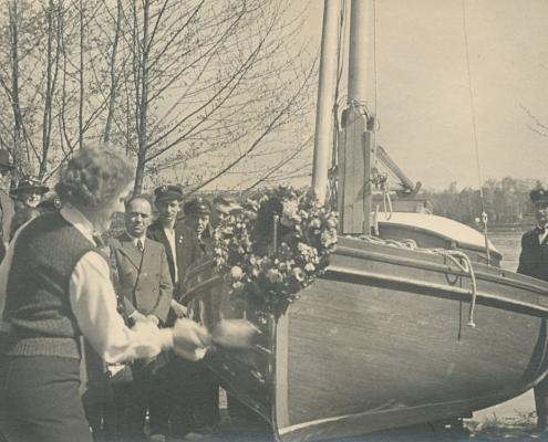 """Bootstaufe 15er Jollenkreuzer P 70, von Albert Reußner (""""Abla"""" genannt)"""
