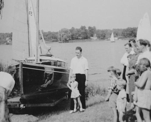 Bootstaufe R 470 mit Bernhard Nölte (li.) und Kurt und Manfred Richter (re.)