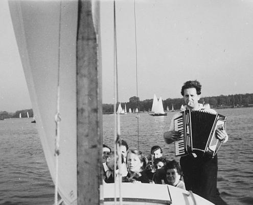 """Bootstaufe """"Scholli II"""", Jungfernfahrt mit Gerhard Schäfer"""