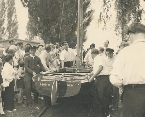 3 Bootstaufen, die selbstgebauten H-Jollen der Kameraden Holle, Jaeger und Grasse