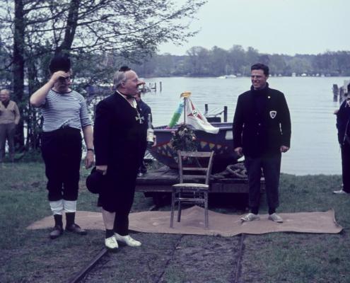 """Taufe Arbeitskahn """"Gabiweiko"""": Rudi Herrmann, Peter Tietsch & Werner Kunze"""