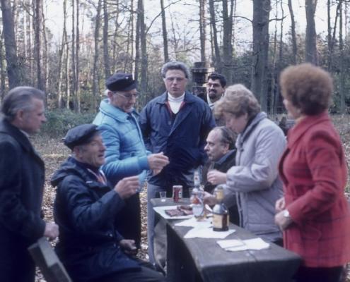 """Bußtag: Wolf-Dieter Kunze, Heinz Boss, Egon Jagsch, Rudi Sachs, Werner Kunze, Klaus Braschoß, Klaus Liesecke, Edeltraud Braschoß & """"Moorchen"""" Jagsch"""