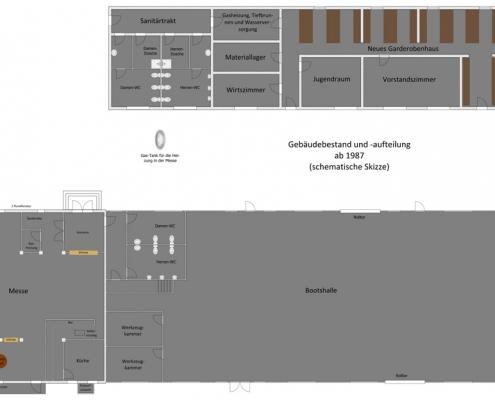 Im neuen Garderobenhaus wird ab 1986 begonnen, die Raumaufteilung zu ändern, da der Anbau eines Sanitärtraktes vorbereitet wird. Der Vorrats- und Geräteraum wurde zur Gasheizung und zur Wasserversorgungsanlage umfunktioniert. Das große Wirtszimmer teilte man, um einen Raum als Materiallager hinzuzugewinnen. Ein verkleinertes Wirtszimmer blieb für den Gastronom des Vereins erhalten. Die Clubküche in der Messe erhält eine neue Ausstattung. Der angebaute Sanitärtrakt beinhaltet Damen- und Herren-Toiletten sowie eine Damen- und Herren-Dusche. Ein Durchgang verbindet den Sanitärtrakt mit dem Garderobenhaus.