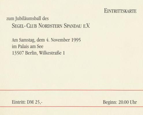 Eintrittskarte zum Jubiläumsball am 04.11.1995
